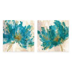 Contemporary Teal Flower Canvas Wall Art - BedBathandBeyond.com