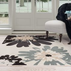 Lavish Home 62-243I Flower Area Rug