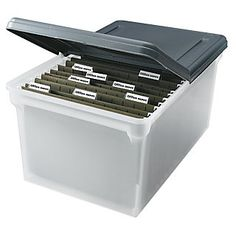"""Office Depot® Brand Stackable File Tote Box, Letter Size, 14 1/4"""" x 23 3/8"""" x 10 7/8"""", Black/Clear"""