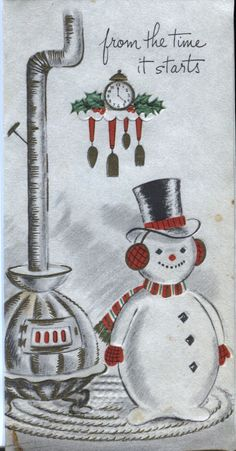 Vintage Christmas Card -  Snowman by the Stove
