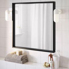 NISSEDAL Mirror, black, 25 The timeless design works just as well in the living room as in the bathroom. Matches nicely with our MALM series. Malm, Nautical Bathroom Decor, Ikea Bathroom, Bathroom Mirrors, Small Bathroom, Vanity Mirrors, Basement Bathroom, Mirror Mirror, Modern Bathroom