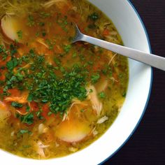 Roasted Garlic Chicken Soup with Harissa   NutrientsYouFools.com