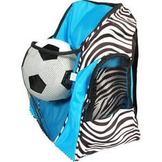 Turquoise and Black Zebra Athletic Sports Backpack Gym Bag Overnight Bag School Backpack Great for all sports activities.  Bag comes in Hot Pink, Lime Green, Black, and Turquoise etsy.com/shop/threelittlechickadee