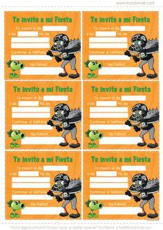 Invitaciones de cumpleaños para imprimir Gratis Plantas Vs. Zombies #MundoMab  http://mundomab.com/index/plantas-vs-zombies-mini-kit-imprimible-gratis/