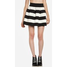 DAILYLOOK DAILYLOOK Striped Bandage Bell Skirt ($50) found on Polyvore