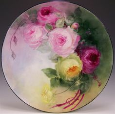 """ROMANTIC VICTORIAN ROSES"" Absolutely Stunning Large 16"" Antique Hand Painted Limoges France Charger Plaque Tray Plate Vintage Victorian Heirloom Floral Art China Painting Original ONE-OF-A-KIND Handmade Artistry Fine French Jean Pouyat Circa 1900"