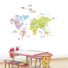 """The World"" Map - Childrens Wall Sticker"