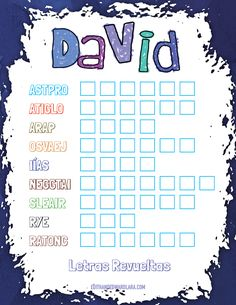 David - Letras Revueltas - Juego Bíblico para Niños - Edith Lara and Edward Lara David, Word Search, Words, Texts, Dot Patterns, Christians, Lyrics, Horse