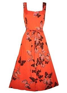 Red Butterfly Midi Dress from Lady Vintage London.