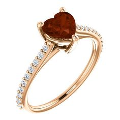 Rose Gold Heart-Shaped Wine-Red Garnet and Diamond Ring ($725) ❤ liked on Polyvore featuring jewelry, rings, pink gold rings, red garnet ring, pink gold diamond rings, heart shaped rings and diamond jewellery