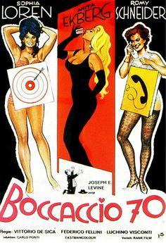 Italian film poster.  Boccaccio '70, Federico Fellini, Luchino Visconti, Vittorio De Sica, Mario  Monicelli, 1962.   A three-episode film (four in Italy) dealing with  sexual mores a la Giovanni Boccaccio.