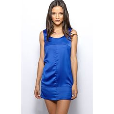 Leola Blue Satin Effect Dress (£7.50) ❤ liked on Polyvore featuring dresses, blue, satin dress, sexy mini dress, mini dress, sexy short dresses and party dresses