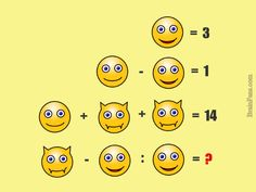 Brain teaser - Number And Math Puzzle - smiley logic puzzle - Look at the smilies and face expressions. What is the result of this math puzzle?