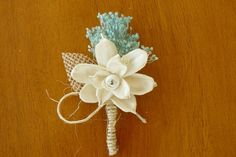 Boutonniere, Sola Wood Boutonniere, Rustic Bohemian Boutonniere, Sola corsages, White Boutonniere, Sola Bouquets on Etsy, $10.00
