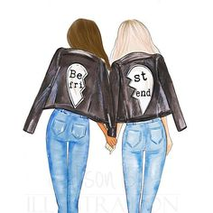 Best friends personalized wall art multi cultural friends fashion illustration print gift for sister twin roommate add name to the print Drei beste freunde Best Friend Pictures, Bff Pictures, Best Friend Quotes, Bff Pics, Drawings For Boyfriend, Girly Drawings, Friends Mode, Fashion Art, Fashion Clothes