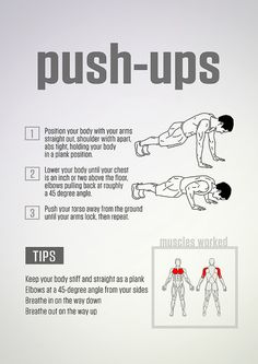 Learn exactly how to actually do a real #PushUp.  Once you master the push-up (or even a less challenging version of a push-up like an elevated push-up or push-up off your knees), do this intense two-move #workout that will make you burn all over.