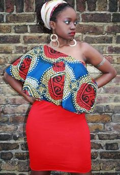 iconicity red asymmetric african print dress