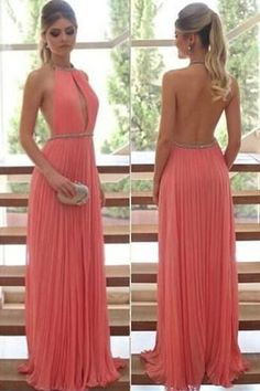 Simple Prom Dress, Water Melon A-Line/Princess Halter Sleeveless Natural Backless Pleats Prom Dresses Backless Prom Dresses, Grad Dresses, Homecoming Dresses, Bridal Dresses, Elegant Dresses, Pretty Dresses, Beautiful Dresses, Formal Dresses, Simple Prom Dress