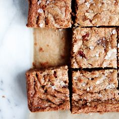 A sprinkling of flaky sea salt just before baking balances the sweetness of these gluten-free blondies made with butterscotch chips and chopped pecans.