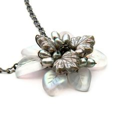 White Green flower necklace leaf necklace by CherylParrottJewelry, $46.95