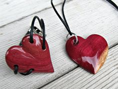 Hand Carved Hearts in Brazilian Purpleheart Wood by The Lotus Shop, Necklace $14.95 Bracelet $16.95