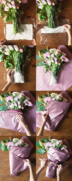 46 Trendy ideas for flowers gift bouquet floral arrangements florists How To Wrap Flowers, Bunch Of Flowers, Pretty Flowers, Flower Wrap, Flower Packaging, Gift Packaging, Deco Floral, Paper Flowers, Boquette Flowers