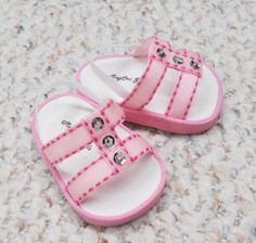 """American Girl 18"""" Doll Shoes - Sandals Handmade - Pink with Silver Sequins"""