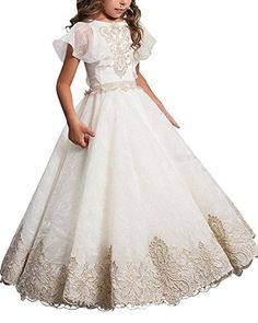 Hot Sale Gold Lace Appliques flower girl dresses ball gown with bow kids  evening gown first communion dresses for girls(China)  313b34f5d596