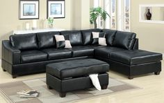 black leather sectional couch with chaise