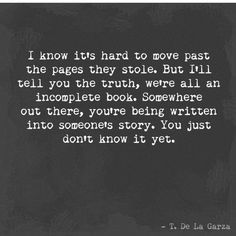 I know it's hard to move past the pages they stole ...
