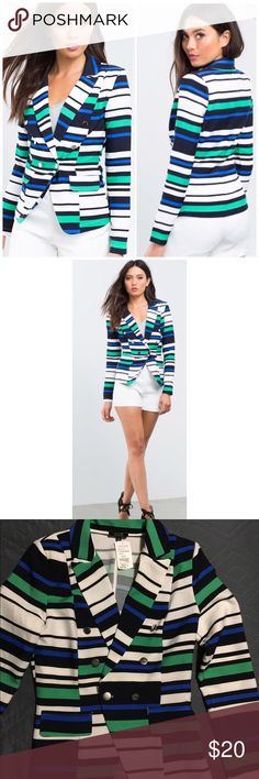 🎁Holiday Sale🎁Striped Blazer A standout blazer, featuring bold multi-colored stripes. Front button accents and single button closure. Notched collar. Long sleeves. Finished edges.  95% polyester, 5% spandex Brand is Boutique Five from A'gaci a'gaci Jackets & Coats Blazers