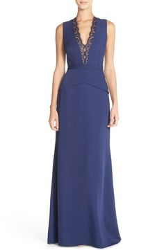 BCBGMAXAZRIA 'Alyza' Lace Trim V-Neck Satin Gown