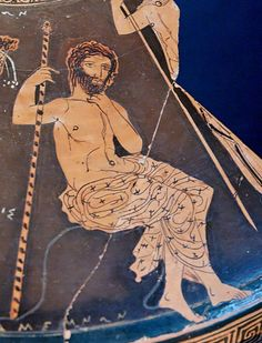 Agamemnon sitting on a rock holding his scepter, Fragment of the lid of an Attic red-figure lekanis by the circle of the Meidias Painter (410–400 BC)