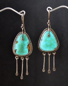 Circa 1910 Navajo Window Pane Earrings For Sale