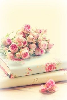 Shabby chic roses & book