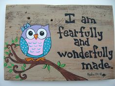 Verse Sign Sayings Psalm 13914 Owl Painting by AntonMurals on Etsy
