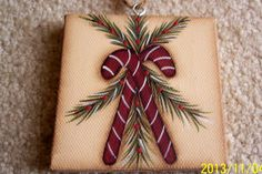Candy Cane Mini Canvas Art Holiday Ornament/Gift Tag