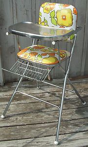 STELLAR! ~ Vintage RETRO Mid Century Floral Folding High Chair ~ Vinyl & Steel