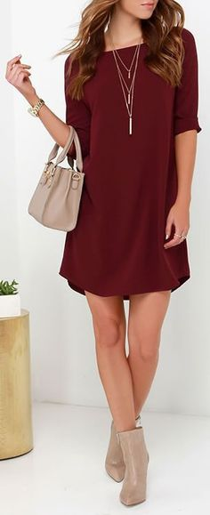 With a dress as easy to wear as the BB Dakota Devin Burgundy Shift Dress. it will be hard to ever imagine yourself in anything else! Slip into this lightweight, woven poly-spandex number and fall in l Dress Outfits, Fall Outfits, Cute Outfits, Fashion Outfits, Burgundy Dress Outfit, Shift Dress Outfit, Fasion, Prom Dress, Fall Dresses