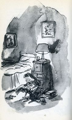 pinkagony:    Quentin Blake from Matilda  by Roald Dahl  My imaginary best friend.
