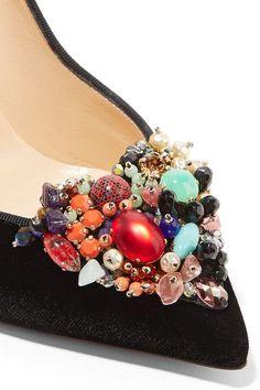 Christian Louboutin   Iva Cora 100 embellished velvet point-toe pumps   NET-A-PORTER.COM