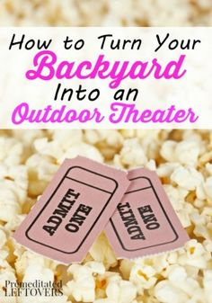 How to Turn your Backyard into an Outdoor Theater - tips for creating an outdoor theater so you can enjoy movie nights in your backyard. Theater How to Turn your Backyard into an Outdoor Theater Movie Theater Party, Movie Night Party, Family Movie Night, Backyard Movie Nights, Outdoor Movie Nights, Fete Audrey, Outdoor Movie Party, Outdoor Theater, Outdoor Cinema