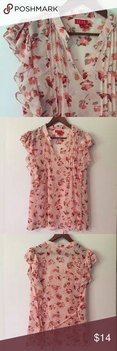 ELLE sheer floral ruffle top sz XL. Coral & pink! ELLE sheer floral ruffle top. Size: XL. Length: 25 inches. Chest: 23 inches. Coral & pink floral print. Ruffles at shoulders and neck. Tie at back so waist can be adjusted. Cute top! Great preowned condition. ELLE Tops Blouses