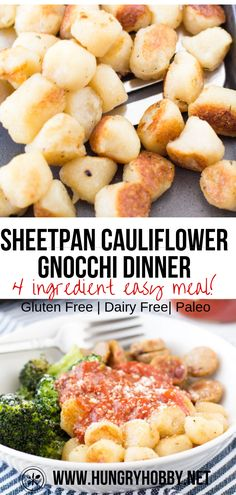 Sheet Pan Trader Joe's Cauliflower Gnocchi with Chicken Sausage & Broccoli - This easy one-pan dinner is made with just 4 ingredients, staring Trader Joe's Cauliflower Gnocch - Clean Eating Snacks, Healthy Eating, Healthy Dinner Recipes, Cooking Recipes, Healthy Meals With Chicken, Easy Healthy Meals, Easy Meals For One, Healthy Foods, One Pan Dinner