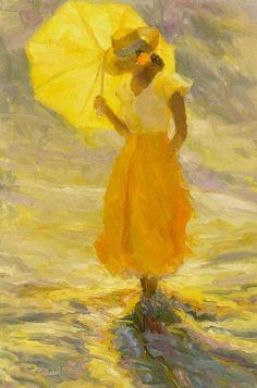 color of the week: late summer yellow: Huile de Diane Leonard, artiste américaine. Art Jaune, Umbrella Art, Yellow Umbrella, Shades Of Yellow, Happy Colors, Mellow Yellow, Color Yellow, My Favorite Color, Painting & Drawing