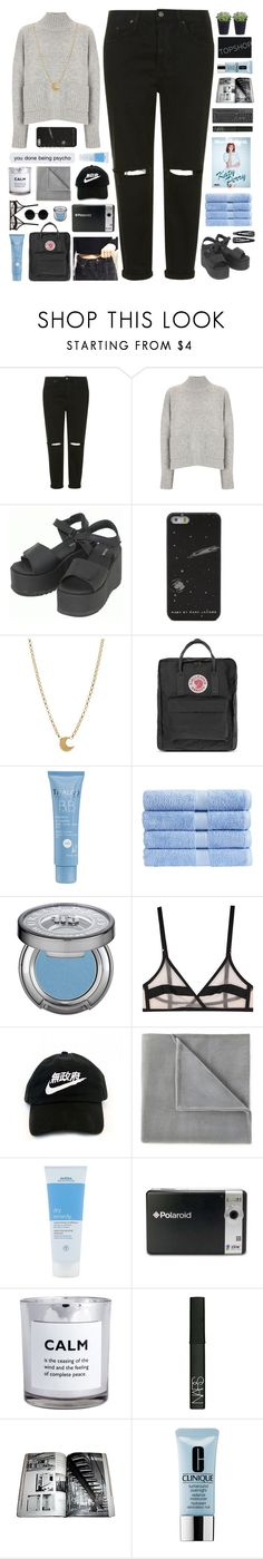 """""""Untitled #2311"""" by tacoxcat ❤ liked on Polyvore featuring Topshop, Frame Denim, Dr. Martens, Dogeared, Fjällräven, Thalgo, Christy, Urban Decay, Yasmine eslami and Vellux"""
