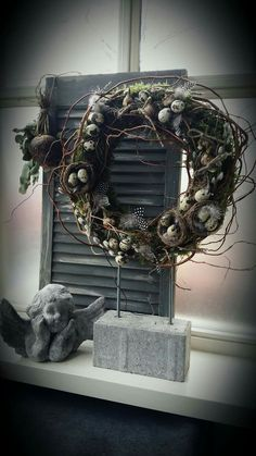 🌟Tante S!fr@ loves this📌🌟Pasen, 🌟Tante S!fr@ loves this📌🌟Pasen. Cozy Christmas, Simple Christmas, Christmas Wreaths, Diy Easter Decorations, Christmas Decorations, Diy Decoration, Diy Osterschmuck, Deck Decorating, Primitive Crafts