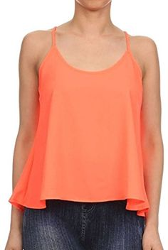 Womens Scoop Neck Chiffon Swing Cropped Tank Top Cami Camisole BlousePeach S ** Be sure to check out this awesome product.