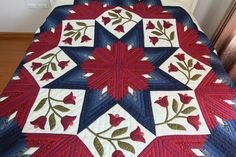 Eight point star Red Velvet and Navy Blue by JangThaiHandicrafts