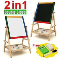 Kids 2 In 1 Black / White Wooden Easel Chalk Drawing Board For Child Educational by Sentik -- Awesome products selected by Anna Churchill